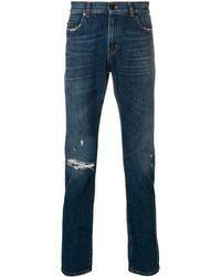 Saint Laurent - Distressed Skinny-fit Jeans - Lyst