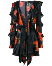 Philipp Plein - Ruffled Floral Print Dress - Lyst