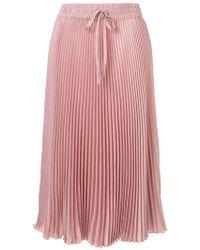 RED Valentino - Drawstring Pleated Midi Skirt - Lyst