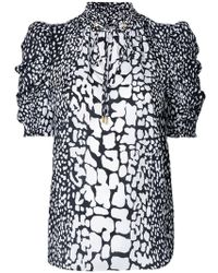 63ab154a7b7a MICHAEL Michael Kors - Patterned Ruched Sleeve Blouse - Lyst