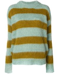 Erika Cavallini Semi Couture - Ocher And Light Blue Rikky Striped Pullover - Lyst