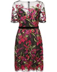 Notte by Marchesa - Sheer Yoke Embroidered Cocktail Dress - Lyst