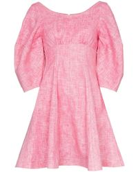 Paper London - Bay Puff Sleeve Flared Ramie Mini Dress - Lyst