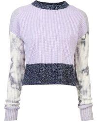 Zoe Jordan - Contrast Cropped Knitted Sweater - Lyst