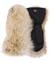 Prada - Handschuhe mit Pelzbesatz - Lyst