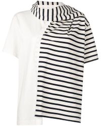 JW Anderson - Striped Jersey T-shirt With Draped Scarf - Lyst