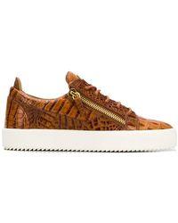 027a8f631f296 Giuseppe Zanotti Eve Crocodile Embossed Sneakers in White for Men - Lyst