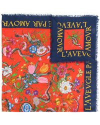 Gucci - Flora Snake Print Shawl - Lyst