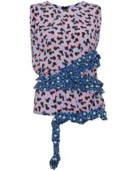 Marni - Sleeveless Floral Top With Asymmetric Ruffle - Lyst
