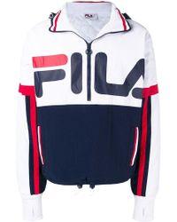 4b133ecc98ea Fila - Logo Print Hooded Jacket - Lyst