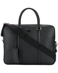 Prada - Logo Plaque Briefcase - Lyst