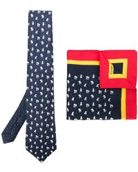 Etro - Elephant Print Tie And Pocket Square Set - Lyst