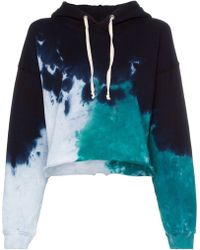 RE/DONE - Tie Dye Cotton Cropped Hoodie - Lyst