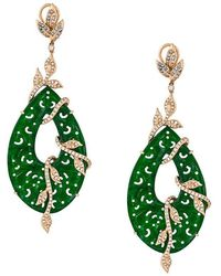 Gemco - Carved Jade Drop Diamond Earrings - Lyst