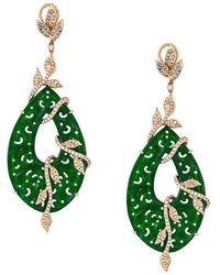 Gemco - Carved Jade Drop Diamond Earrings - Lyst