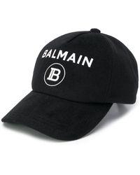 Balmain Cappello da baseball con stampa - Nero