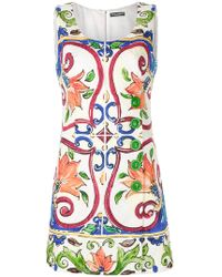 Dolce & Gabbana - Majolica Print Mini Dress - Lyst
