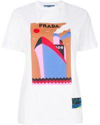 Prada - Logo Boat Print T-shirt - Lyst