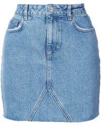 Anine Bing   Raw Hem Denim Skirt   Lyst