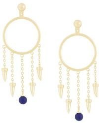 Eshvi - Fang Pearl Charm Earrings - Lyst