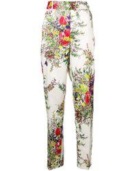 Blumarine - Floral Print Straight Leg Trousers - Lyst