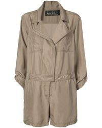 Nicole Miller - Off-centre Zipped Playsuit - Lyst