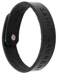 Saint Laurent - Logo Embossed Bracelet - Lyst