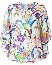 Etro - Floral Print Peplum Blouse - Lyst