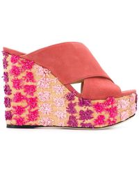 Sergio Rossi - Embroidered Wedge Sandals - Lyst