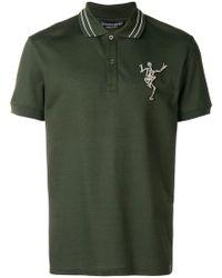 Alexander McQueen - Skeleton-embroidered Cotton-piqué Polo Shirt - Lyst