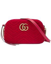 5cb84d0e723b Gucci GG Marmont Velvet Small Shoulder Bag in Purple - Lyst