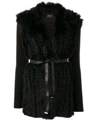Liu Jo - Belted Fur Cardigan - Lyst