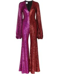 Halpern - Two-tone Sequined Tulle Jumpsuit - Lyst