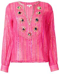 Manoush | Lurex Striped Embroidered Blouse | Lyst