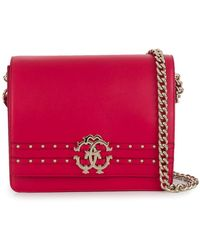 Roberto Cavalli - Studded Logo Shoulder Bag - Lyst