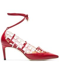Jimmy Choo - Red And White Soraya 65 Leather Pumps - Lyst