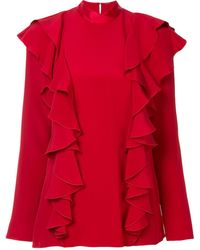 Adam Lippes Ruffle front blouse - Rouge