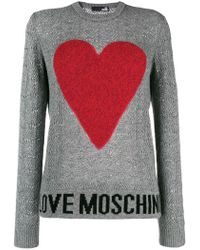 Love Moschino - Logo Heart Embroidered Sweater - Lyst
