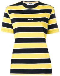 MSGM - Striped Short-sleeve T-shirt - Lyst