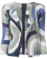 Pleats Please Issey Miyake - Geometric Print Pleated Cardigan - Lyst