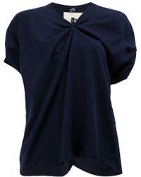 Aganovich - Ruched V-neck T-shirt - Lyst