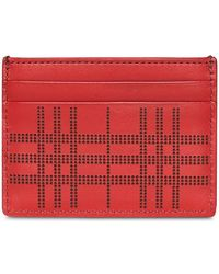 Burberry - Perforated Check Leather Card Case - Lyst