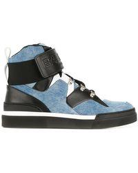 Balmain - Embossed Denim Sneakers - Lyst