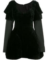 Vera Wang - Layered Shoulder Pads Flared Dress - Lyst