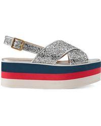 Gucci - Sandalo Incrociato Glitter Con Plateau - Lyst