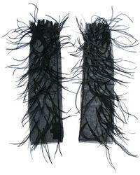J. Mendel - Guantes de malla con aplique de plumas - Lyst