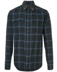 Kolor - Studded Collar Checked Shirt - Lyst