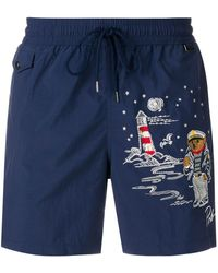 Polo Ralph Lauren Shorts Met Zeil Motief - Blauw