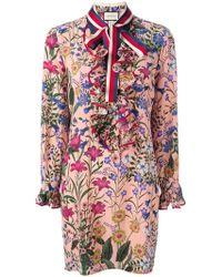 d402fef1ff8 Gucci Women's Wild Flora Snake Print Silk Dress In Black in Black - Lyst