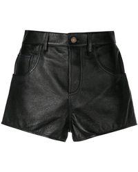 Saint Laurent - Leather Flared Shorts - Lyst